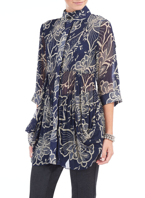 3/4 Sleeve Printed Tunic Blouse, Blue, hi-res
