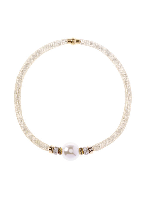 Pearl & Mesh Tube Necklace , Off White, hi-res