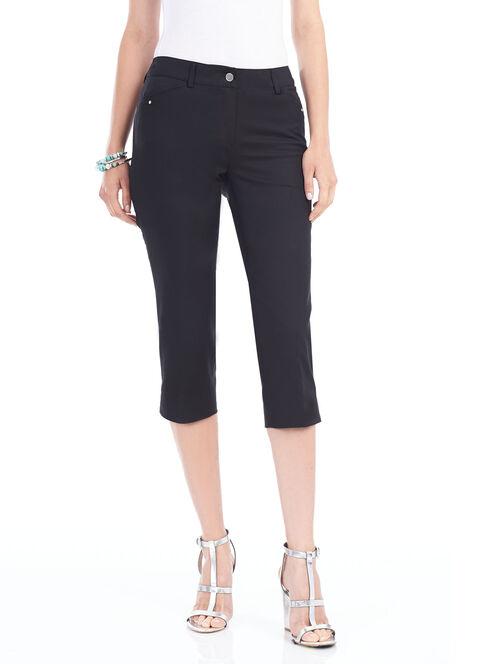 Jewel Trim Capri Pants , Black, hi-res