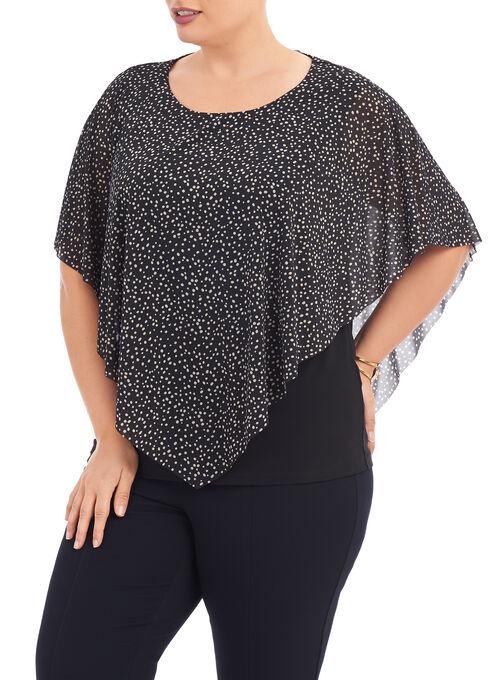 Dot Print Asymmetrical Poncho Top, Black, hi-res