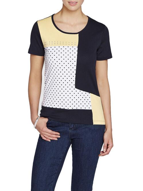 Printed Sequined Trim T-Shirt, Blue, hi-res
