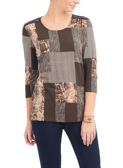 3/4 Sleeve Printed Tunic Top, Brown, hi-res