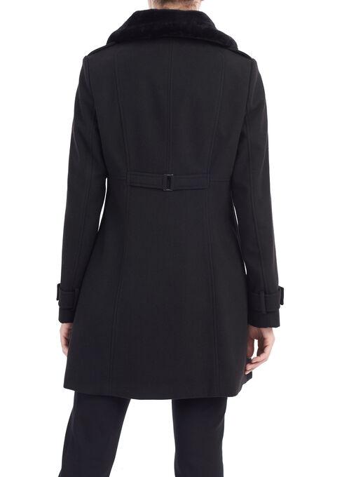 Wool-Like Faux Fur Coat, Black, hi-res