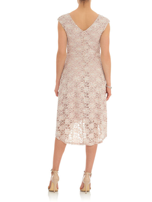 Boat Neck Sequined Lace Dress, White, hi-res