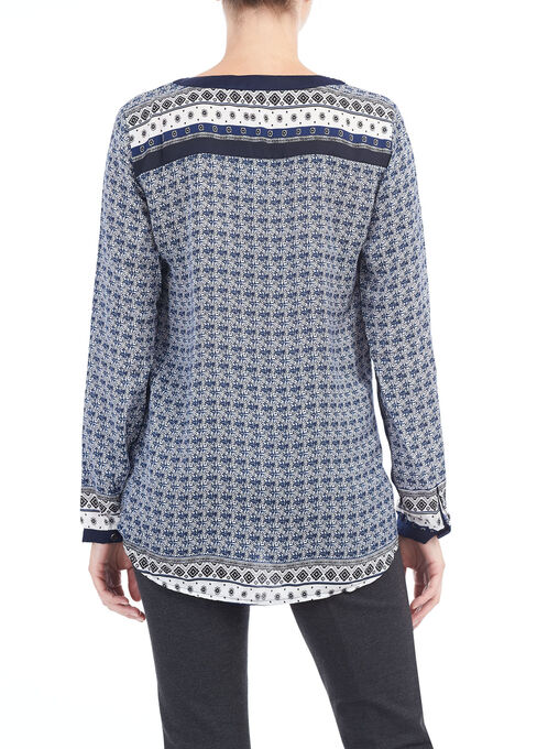 Printed Button Front Top, Blue, hi-res
