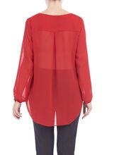 3/4 Sleeve Zipper Trim Blouse, Red, hi-res