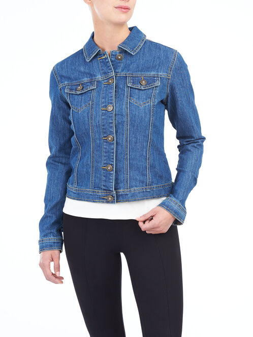 Jewel Detail Denim Jacket, Blue, hi-res
