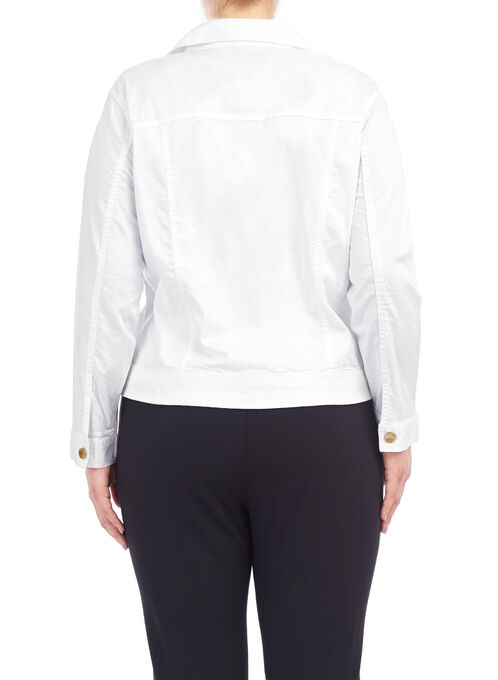 Cotton Sateen Notch Collar Jacket, White, hi-res