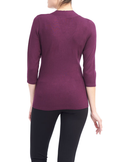 3/4 Sleeve Ribbed Knit Top, Purple, hi-res