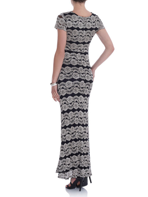 Short Sleeve Lace Gown , Black, hi-res