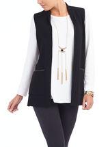 Pleather Trim Open Front Vest, Black, hi-res