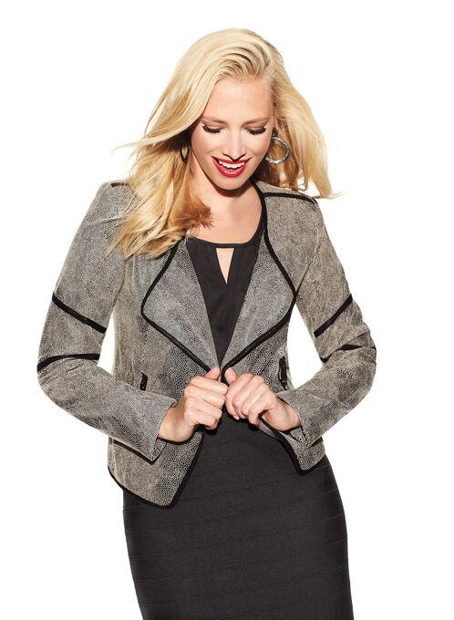 Asymmetrical Textured Jacket , Brown, hi-res