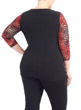 3/4 Sleeve Printed Lace Top, Black, hi-res