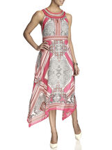 Sleeveless Printed Chiffon Beaded Detail Dress, Red, hi-res
