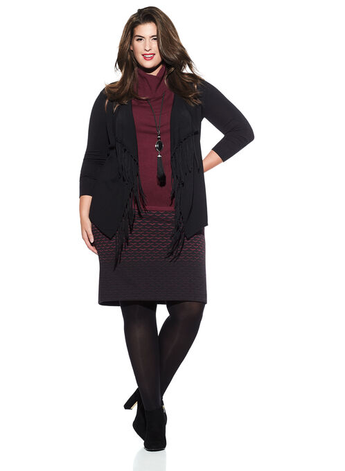Fringe Knit Cardigan , Black, hi-res