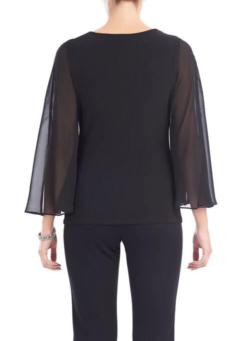 Bell Sleeve Side Drape Top, Black, hi-res
