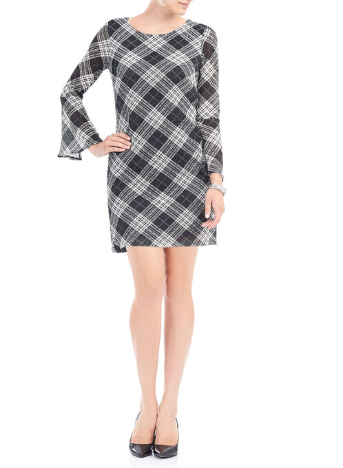 Plaid Mesh Bell Sleeve Dress, Black, hi-res