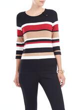 ¾ Sleeve Knit Scoop Neck Pullover, Black, hi-res