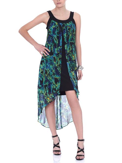 Sleeveless Printed Chiffon Dress, Green, hi-res
