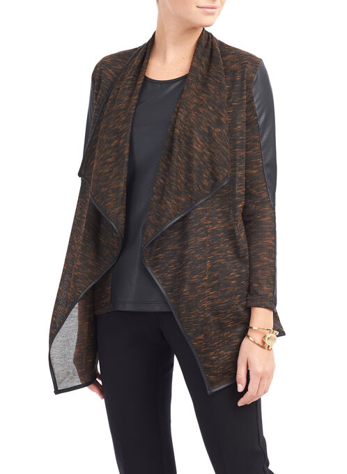 Long Sleeve Knit Cover Up, Black, hi-res