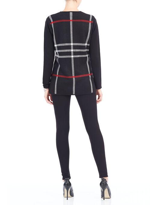 Plaid Print Knit Cardigan, Black, hi-res