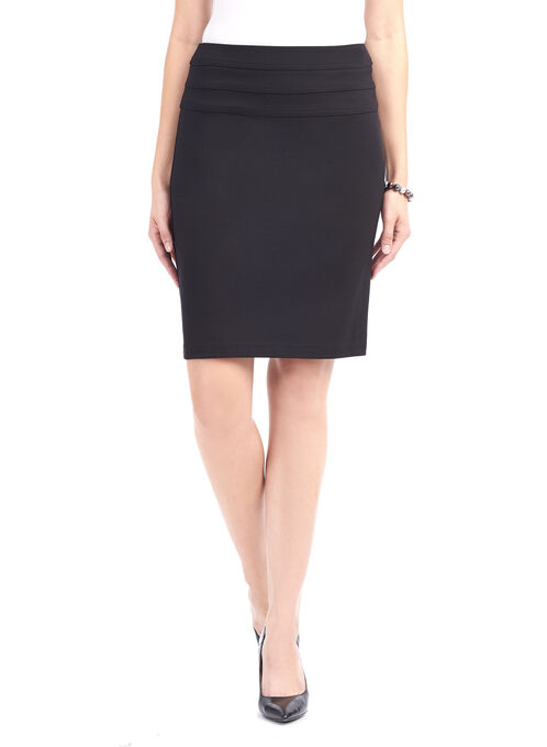 Knit Double-Banded Skirt, Black, hi-res