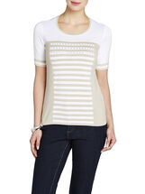 Stripe Front Short Sleeve Sweater, White, hi-res