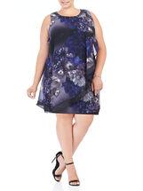 Sleeveless Beaded Floral Print Dress, Purple, hi-res