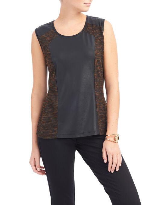 Faux Leather Knit Top, Black, hi-res