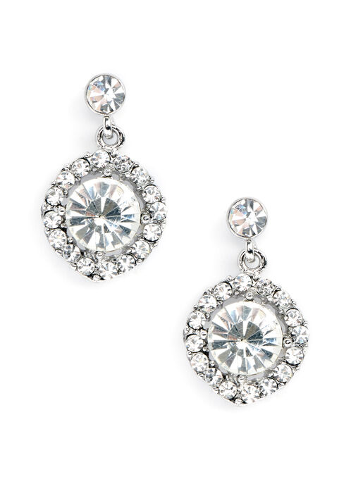 Round Crystal Dangle Earrings , Silver, hi-res