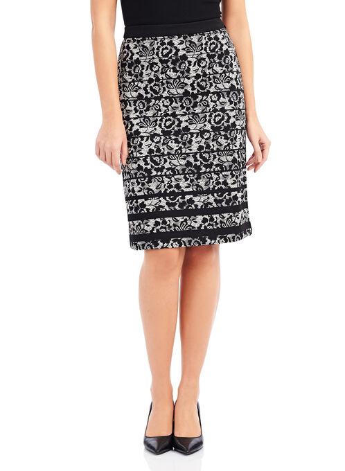 Printed Lace Pencil Skirt, Black, hi-res