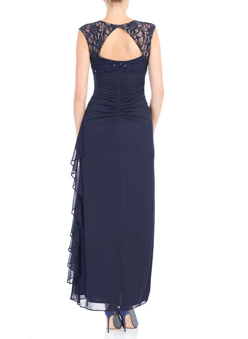 Long Sequined Lace Dress, Blue, hi-res