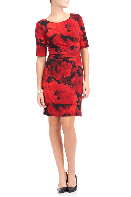Elbow Sleeve Printed Ruched Dress, Red, hi-res