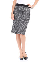 Textured Tweed Pencil Skirt, Black, hi-res