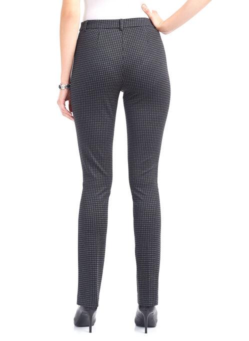 Printed Ponte Straight Leg Pants , Black, hi-res