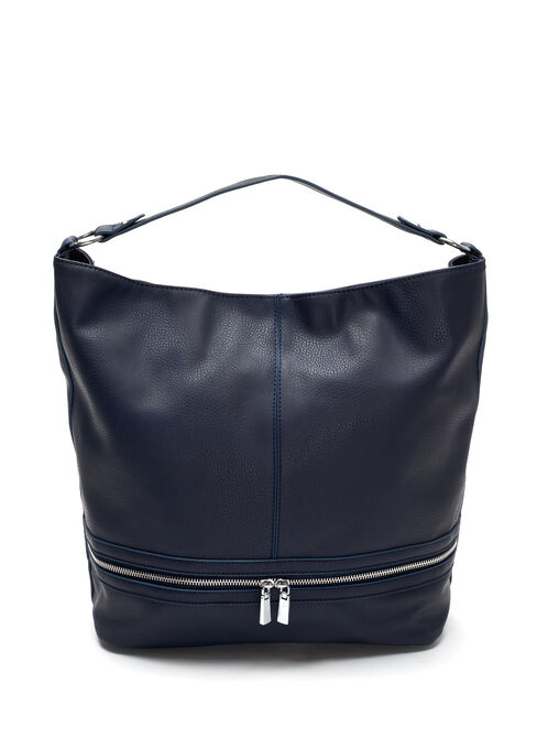 Faux Leather Bucket Handbag, Blue, hi-res