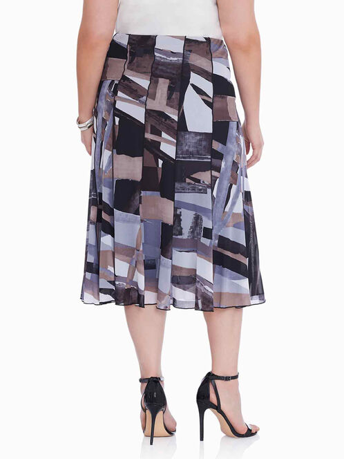Abstract Print Mesh Midi Skirt , Black, hi-res
