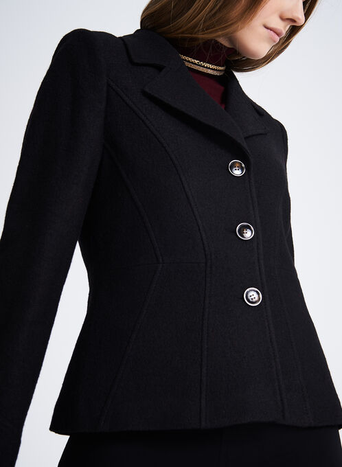 Notch Collar Wool Blend Jacket, Black, hi-res