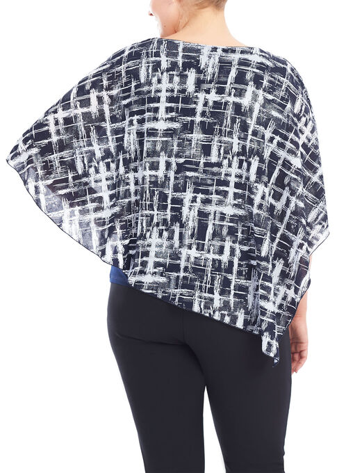 ¾ Sleeve Cut & Sew Poncho Top and Cami, Blue, hi-res