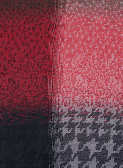 Houndstooth Jacquard Wrap, Red, hi-res