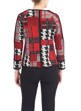 Plaid Patchwork Jacket, Red, hi-res