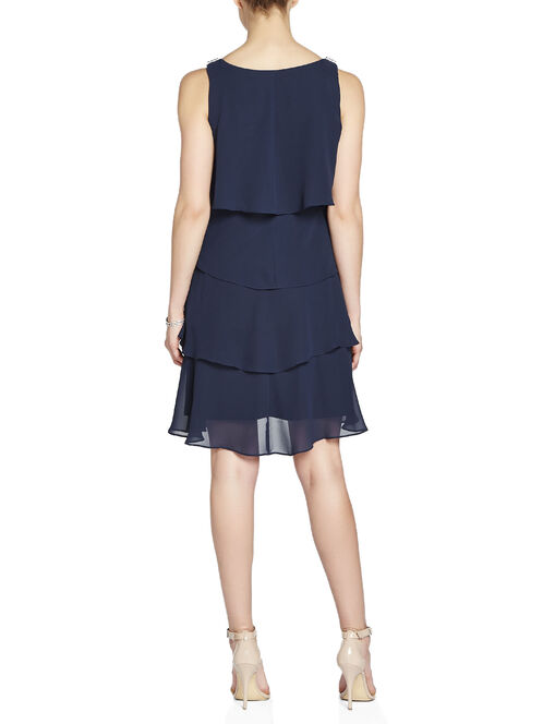 Rhinestone & Metal Detail Tiered Dress, Blue, hi-res