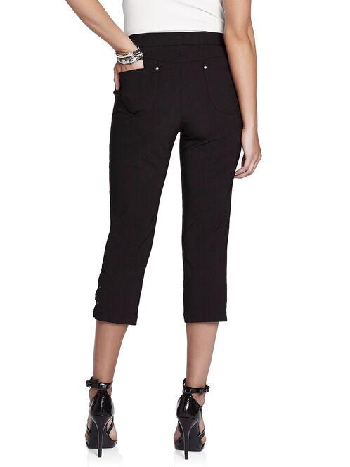 Bow Detail Capri Pants, Black, hi-res