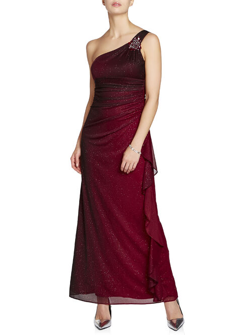 Ombré Jewelled Trim Ruched Gown, Black, hi-res