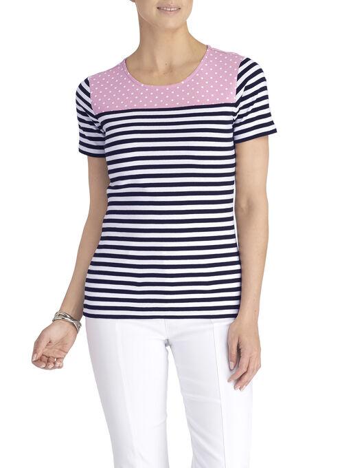 Dotted Yoke Striped T-Shirt, Black, hi-res