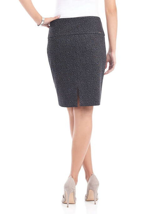 Printed Tummy Control Pencil Skirt , Black, hi-res