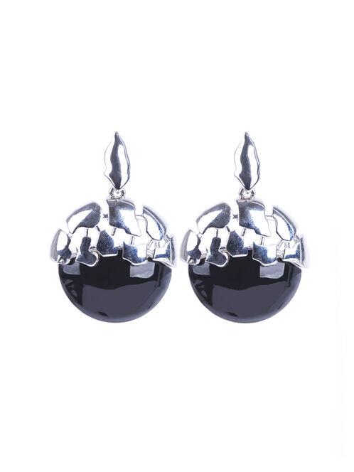 Cutout Lucite Dangle Earrings , Black, hi-res