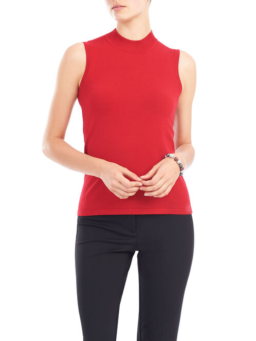 Sleeveless Knit Funnel Neck Top, Red, hi-res