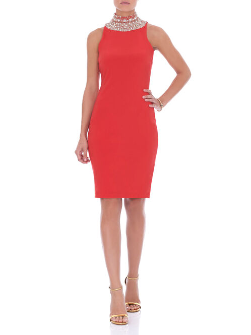 Sleeveless Beaded Neck Dress, Red, hi-res