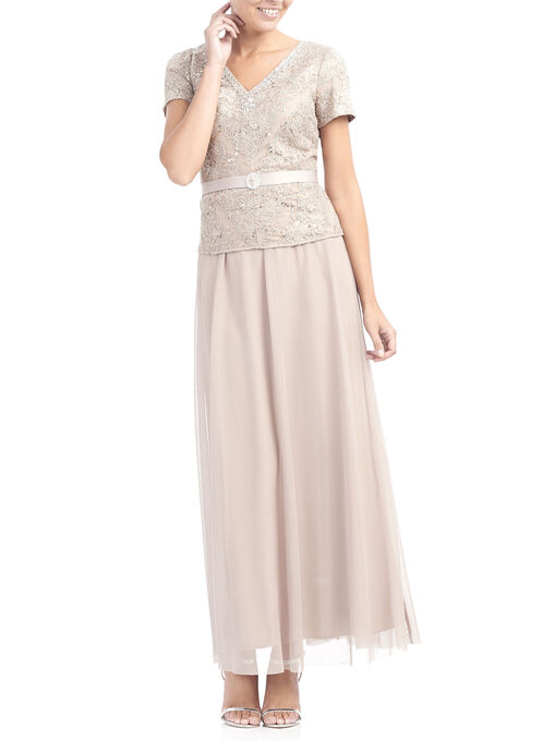 Sequined Lace Peplum Gown , Off White, hi-res